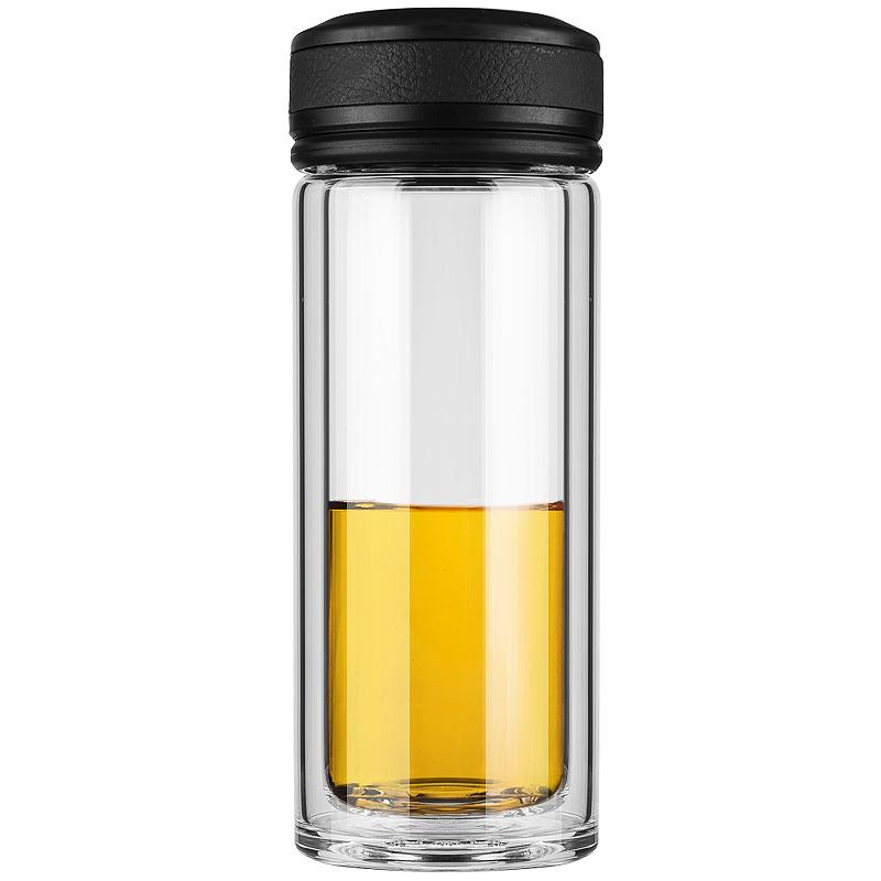 万象(WANXIANG)V19 255ML双层耐热玻璃杯 商务男女便携水杯 时尚便携泡茶杯 黑色