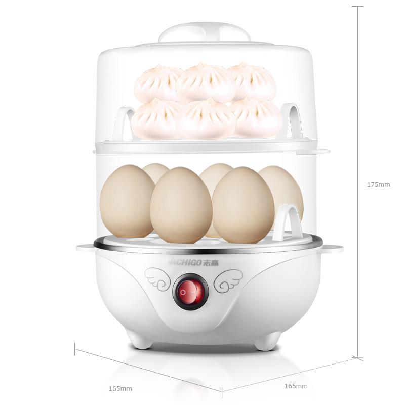 志高(CHIGO)煮蛋器双层家用蒸蛋器防干烧早餐机可煮14个蛋配304不锈钢蒸碗ZDQ210 白色