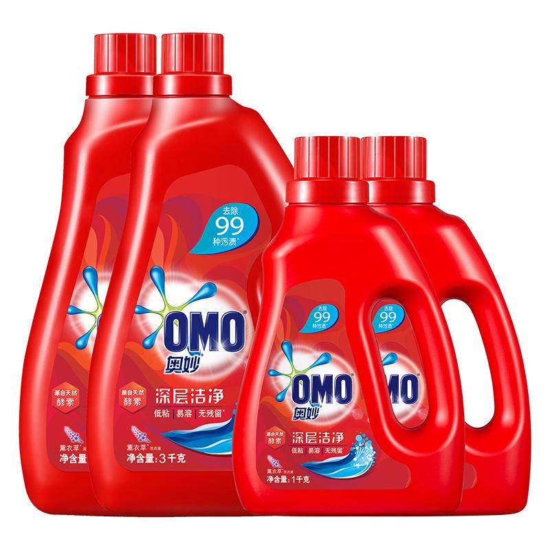 奥妙 洗衣液 16斤超值深层洁净套装(3kg×2+1kg×2) 源自天然酵素