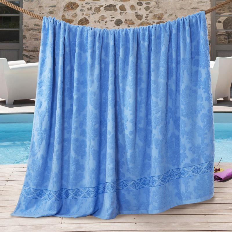 九洲鹿 毛巾被家纺 全棉纯色毛巾被毛毯 居家办公午休四季通用盖毯 空调毯子 蓝色 150*200cm