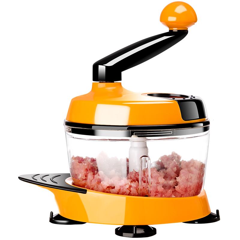 美之扣厨房绞菜机多功能搅蒜搅拌手动切菜器家用绞馅绞肉机1.5L黄色(送旋风绞肉刀片适合1~3人)