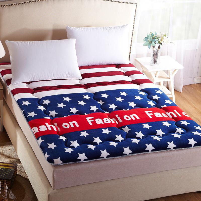 九洲鹿 床垫家纺 加厚防滑法莱绒床垫床褥子双人榻榻米可折叠垫被 欧美时尚 1.8米床