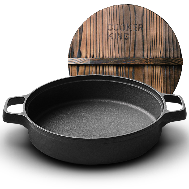 炊大皇平底鍋加厚鑄鐵煎盤中式雙耳煎鍋26cm牛排煎鍋電磁爐通用贈手套