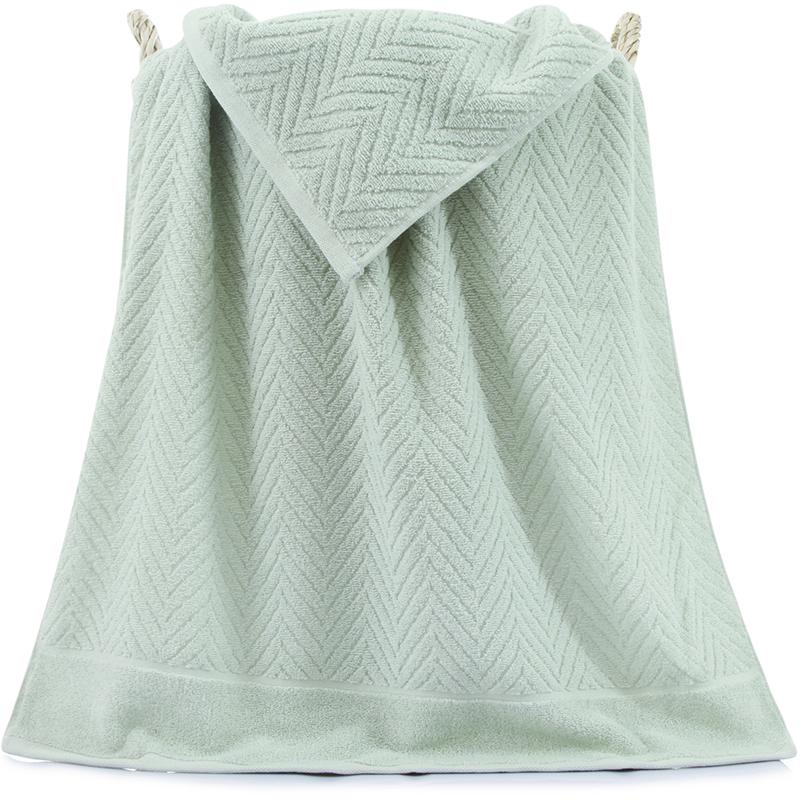 三利 纯棉A类标准简约素雅大浴巾 70×140cm 男女同款 柔软舒适吸水裹身巾 豆绿