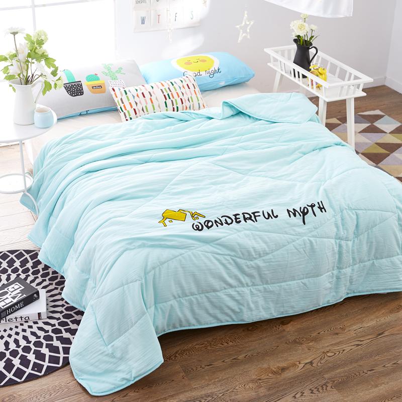 北極絨 Bejirog 空調被 水洗棉花被夏被 棉花填充 單雙人夏涼被子 水洗棉花被-水綠色 150*200cm
