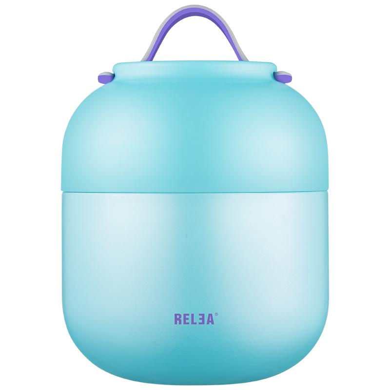 物生物/RELEA 700ML燜燒杯不銹鋼真空燜燒罐壺保溫桶創意學生保溫飯盒 海鹽藍