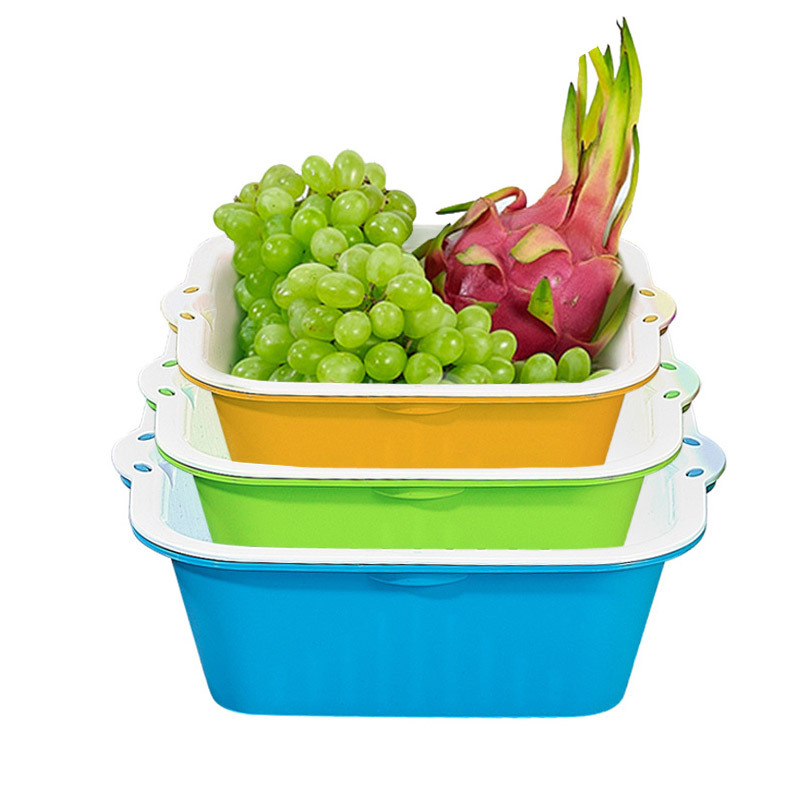 茶花 雙層洗菜籃濾水籃瀝水籃果蔬漏盆淘菜篩子大中小3件套組合裝