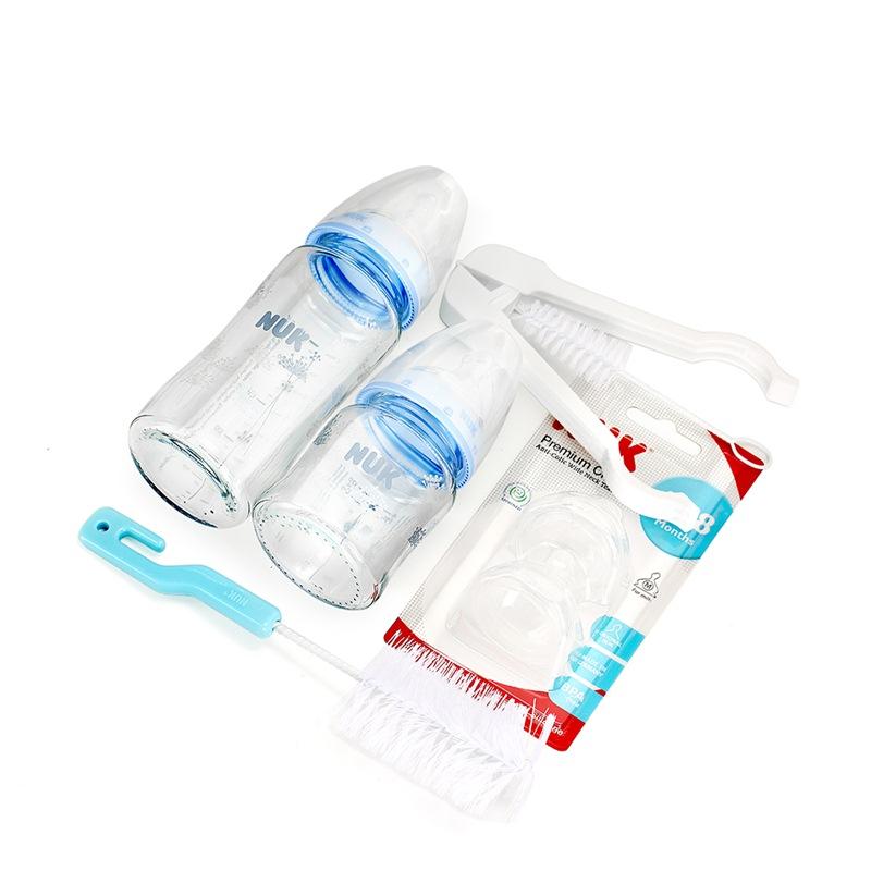 NUK 宽口玻璃硅胶奶瓶奶嘴新生儿套装(240ML+120ML宽口玻璃奶瓶+宽口成长型硅胶奶嘴 赠:奶瓶奶嘴刷+奶瓶夹)