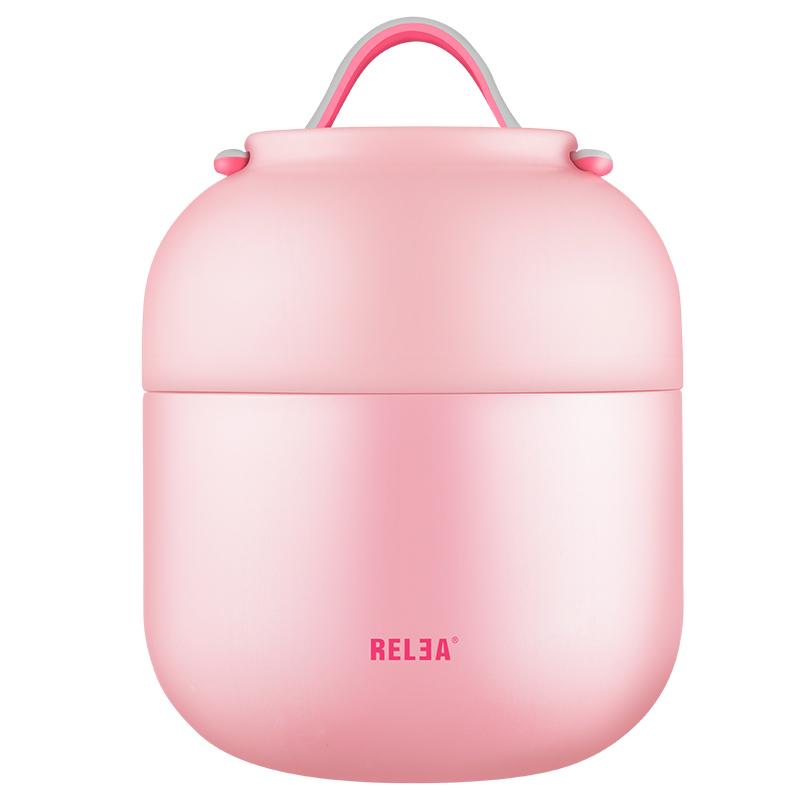 物生物/RELEA 700ML焖烧杯不锈钢真空焖烧罐壶保温桶创意学生保温饭盒 蜜糖粉