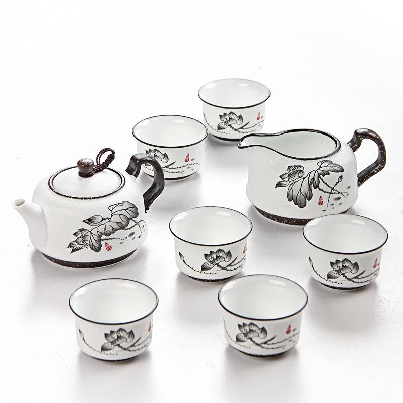 金镶玉 功夫茶具 荷韵茶具套组 雪花釉陶瓷茶壶茶杯公道杯整套