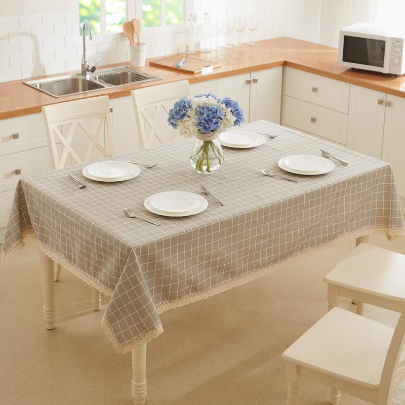 九洲鹿 桌布家居 加厚現代簡約印花布藝茶幾布 北歐風餐桌布臺布 灰白方格 100*150cm