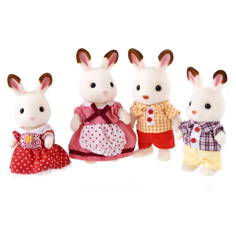 森贝儿家族日本品牌公主玩具女孩娃娃屋仿真森林家族过家家植绒公仔人偶-巧克力兔家族SYFC31258