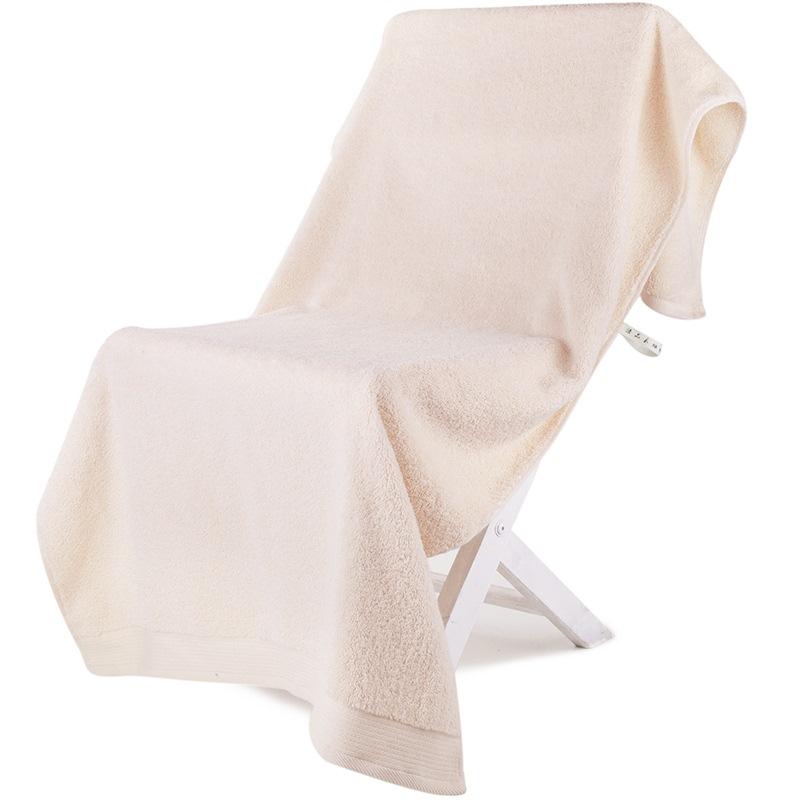 三利 A類加厚長絨棉緞邊大浴巾 70×150cm 純棉吸水 柔軟舒適 帶掛繩 嬰兒可用 米色