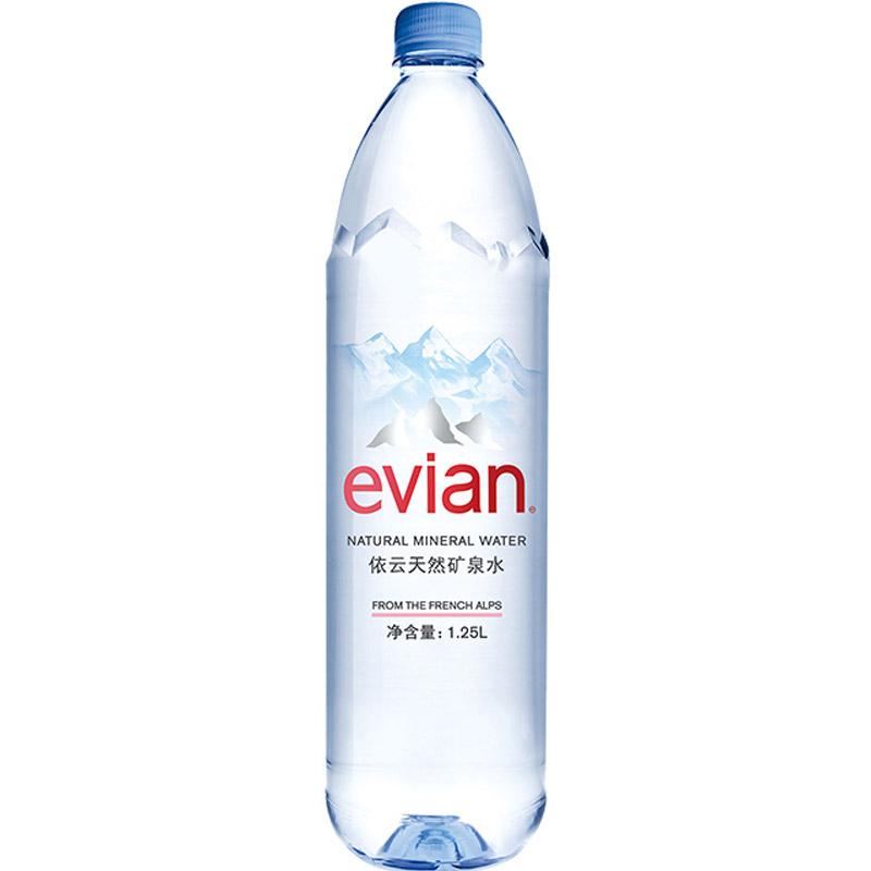 法国原装进口 依云(evian)天然矿泉水 1.25L *12瓶 整箱