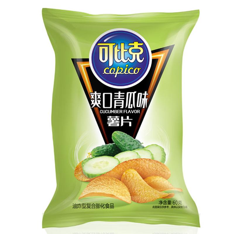 可比克 青瓜味 薯片 办公室休闲膨化零食 60g