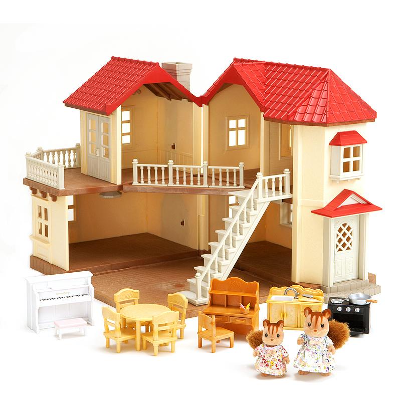 森贝儿家族日本品牌公主玩具女孩娃娃屋仿真森林家族过家家场景房子-灯光大屋礼品套SYFC27568