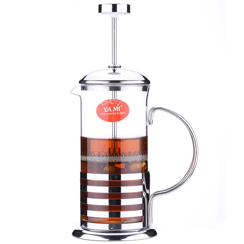 亚米(Yami)家用泡茶法压壶咖啡壶 不锈钢条纹冲茶器 350cc