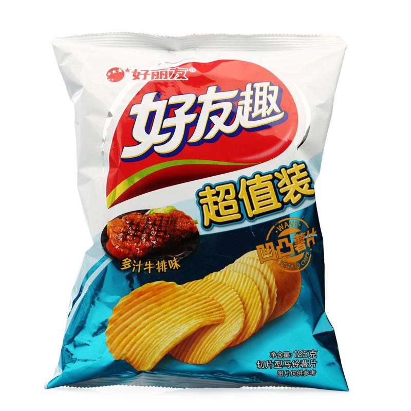 好丽友(orion)休闲零食 薯片 好友趣多汁牛排味125g/袋