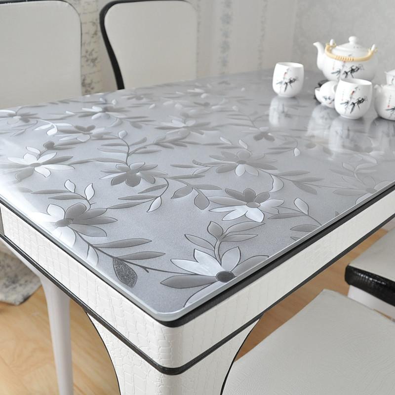 九洲鹿 桌布家纺 软玻璃PVC桌布 防水防烫塑料台布餐桌垫茶几垫胶垫水晶板 波斯菊 90*150cm