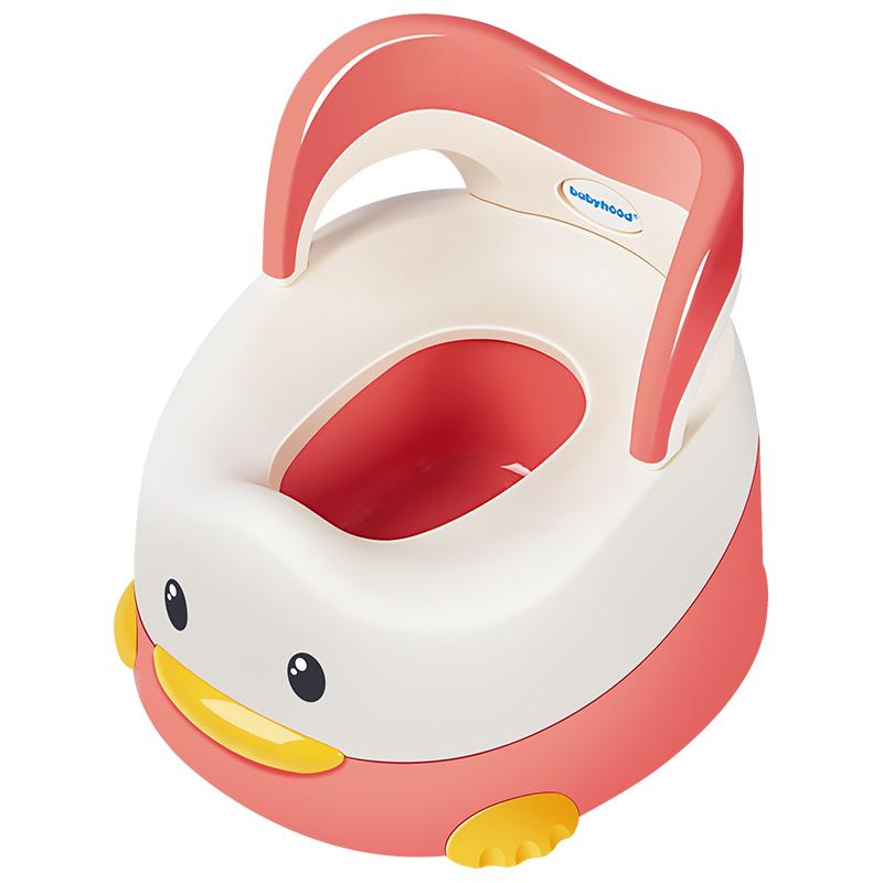 世纪宝贝babyhood 淘气鸭儿童坐便器 婴儿便盆尿盆小马桶 男女宝宝座便器 抽屉便糟 藕粉色 BH-114