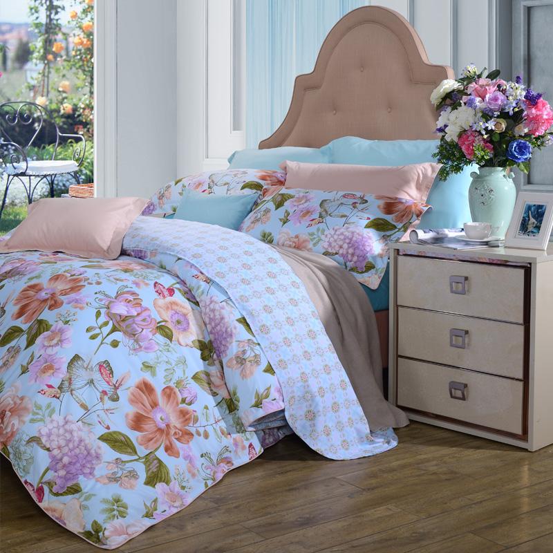 富安娜(FUANNA)家紡床品套件 四件套純棉斜紋 全棉活性印花床單被套 那些花兒雙人1.8米(230*229cm)藍