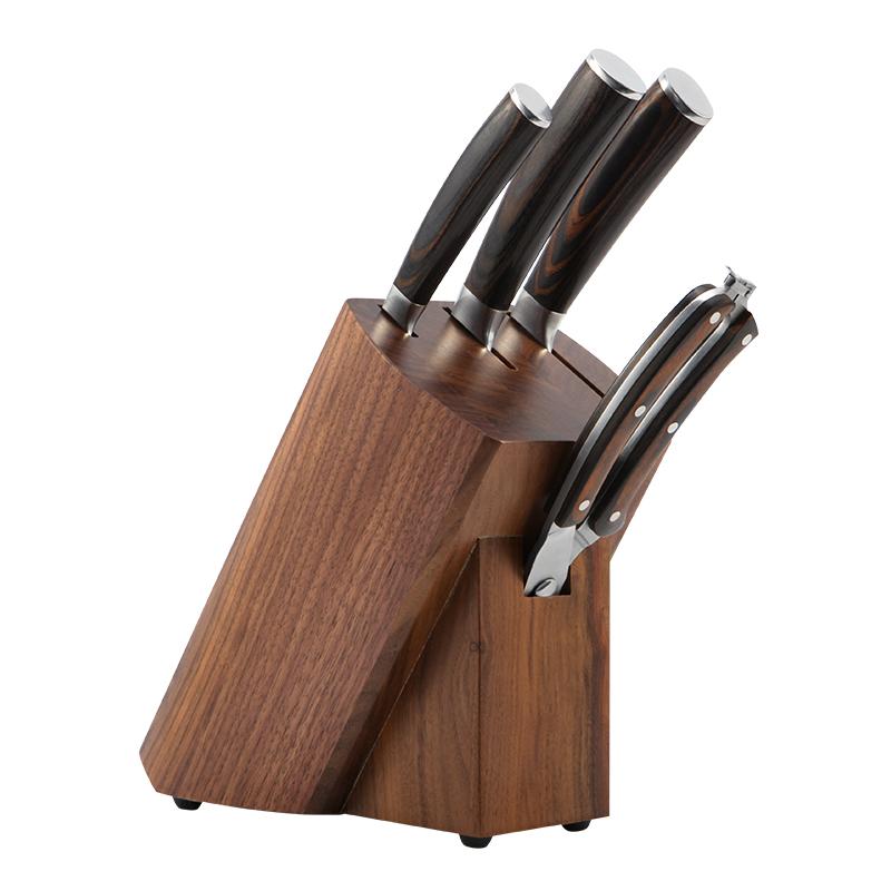 佳佰大馬士革套刀 67層日本進口鋼材彩木刀柄菜刀廚師刀 水果刀剪刀配黑胡桃木刀座 5件套裝 JHB3DMSG