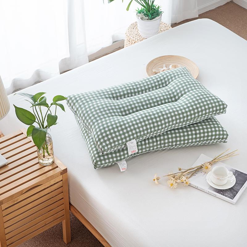 南极人 枕芯家纺 舒适羽丝绒枕头 可水洗护颈枕芯 绿小格 单只装