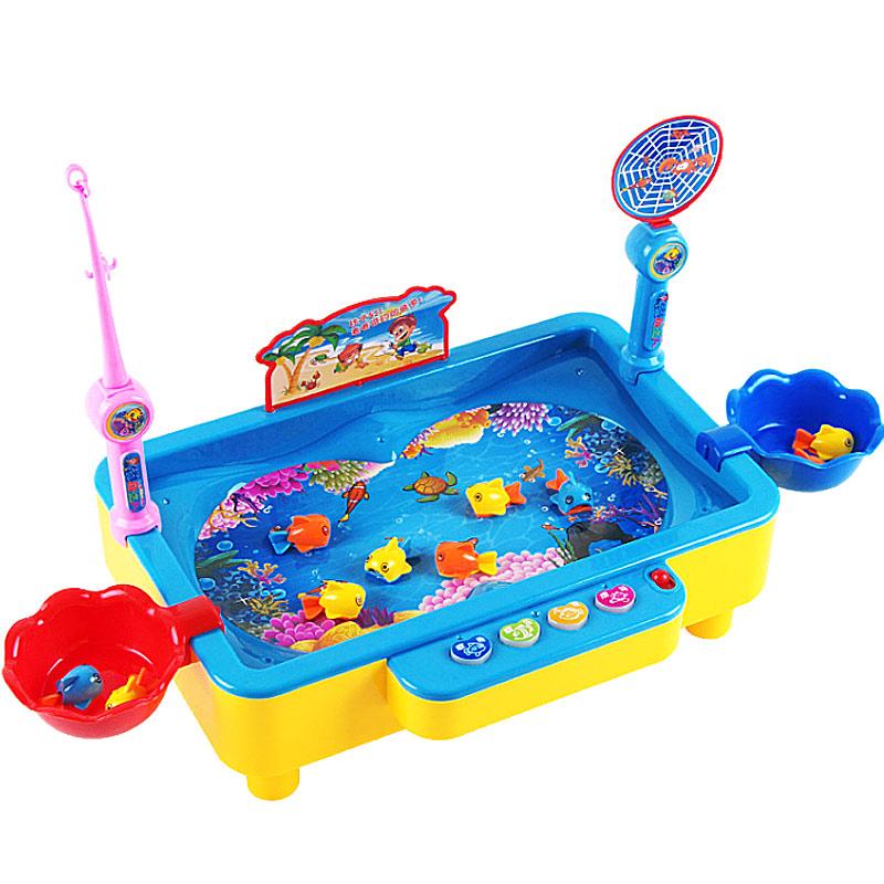 爸爸妈妈(babamama)钓鱼玩具 电动旋转钓鱼池 儿童早教益智玩具 带磁性可装水音乐钓鱼台1567蓝色