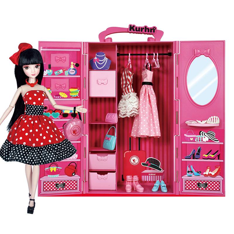 可儿娃娃(Kurhn)时尚小帮手衣柜套装 娃娃换装礼盒套装 女孩玩具生日礼物 10关节体3071