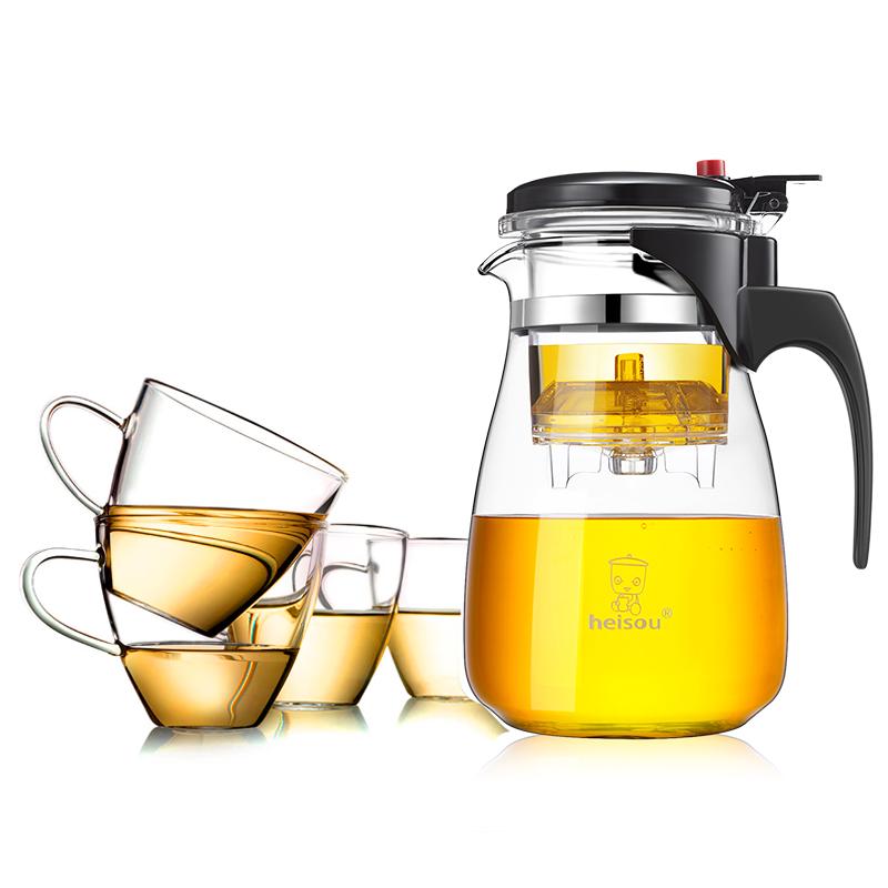 heisou 1L大容量茶壶套装飘逸杯男女居家用办公耐热玻璃过滤茶具玲珑杯(一壶四杯)KT007