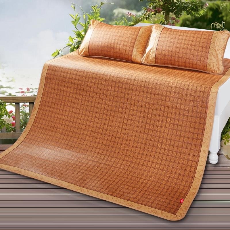 九洲鹿家紡 席子夏天夏季涼席三件套折疊席子御藤席雙人空調涼席 1.5米床