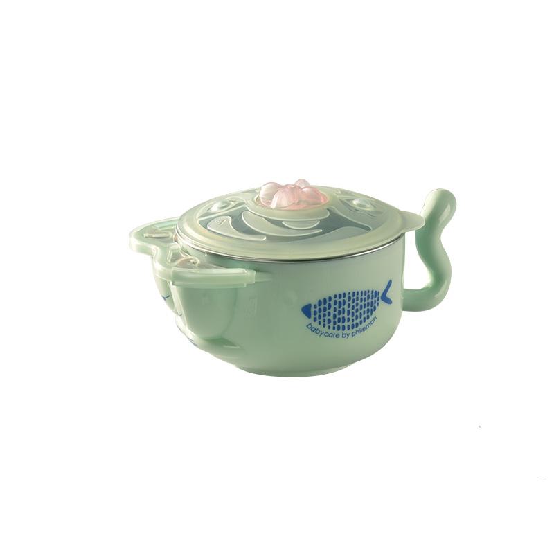 babycare 兒童餐具 寶寶餐具 注水保溫碗套裝 晨霧綠3件套(316材質)