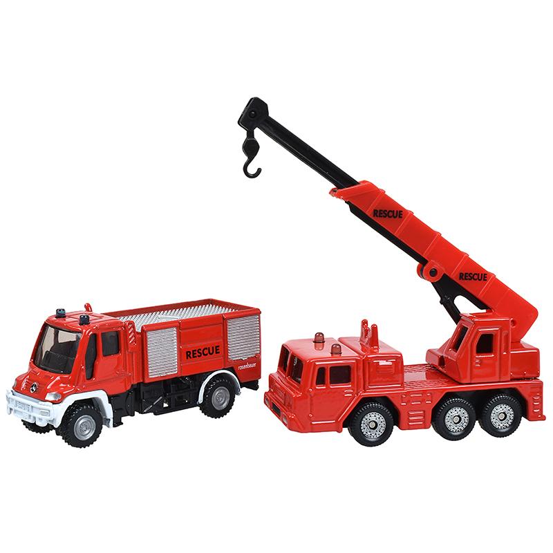 siku仕高德国品牌玩具汽车模型仿真消防车救火车吊车合金车模型小车-消防车套装(2辆)SKUC1661