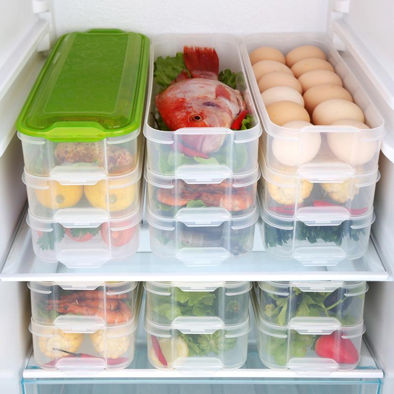 HAIXIN海兴冰箱保鲜盒塑料冷冻储物盒长方形鸡蛋水果食物收纳盒3层1盖 2组装