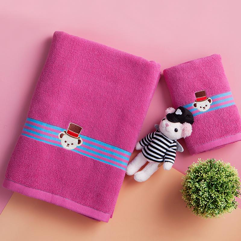 洁丽雅·兰(grace·orchid)毛巾浴巾 泰迪熊酷炫自由亲肤软萌 环保工艺面巾浴巾 二件套玫红