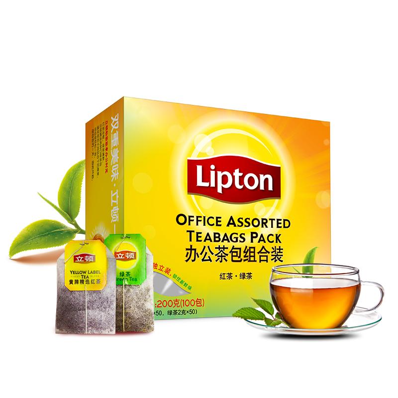 立頓Lipton 茶葉 辦公室組合裝 (紅茶50包+綠茶50包)100包200g 袋泡茶茶包休閑下午茶