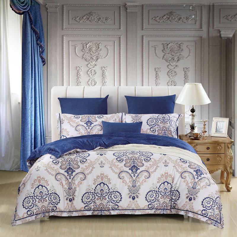 水星家纺 全棉四件套纯棉 贡缎活性印花北欧风格床单被罩被套床上用品套件 费罗纳 双人1.8米床