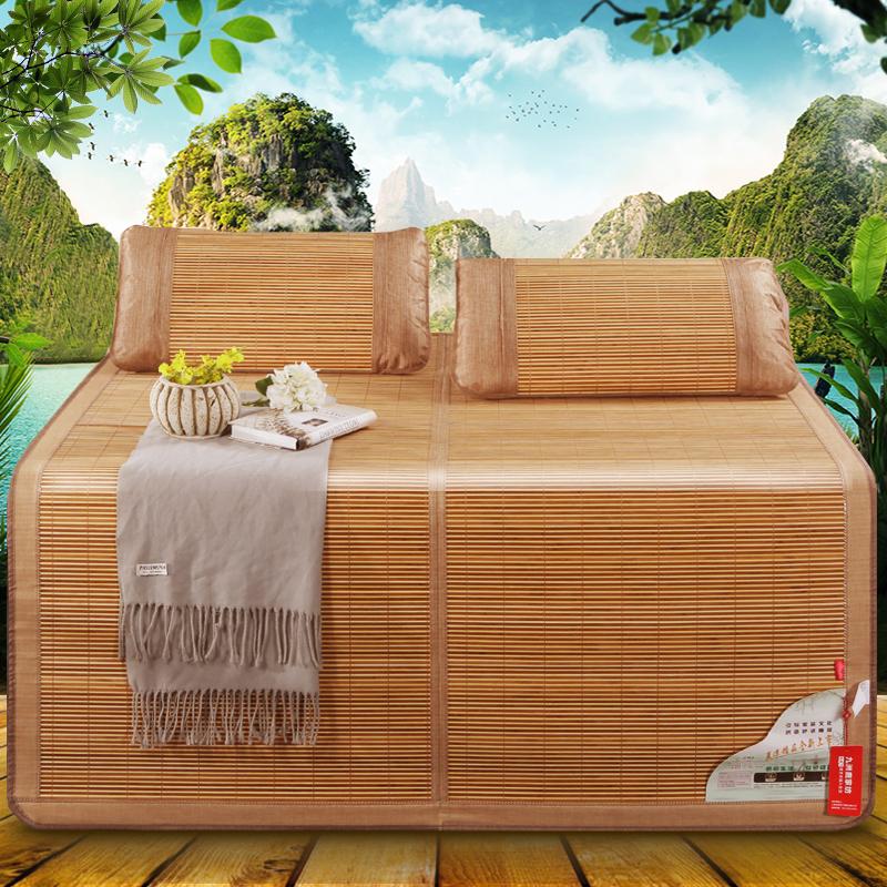 九洲鹿 凉席家纺 双人加大碳化双面水磨竹席 镜面清凉席子竹凉席两用折叠式 麦园花 (不含枕席) 1.5米床