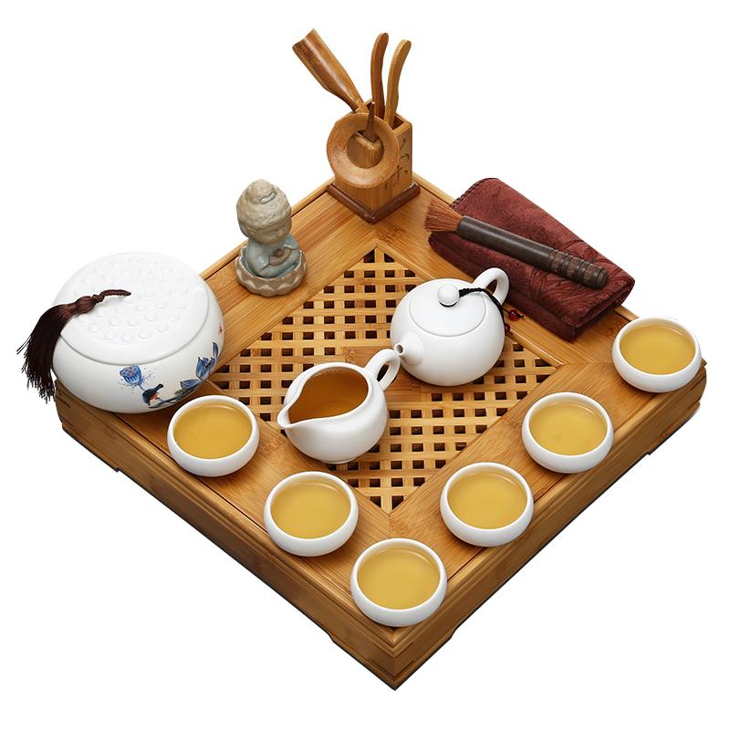 常生源 功夫茶具套装 竹木茶盘 陶瓷茶具 定窑茶壶茶杯 志在四方月白套装