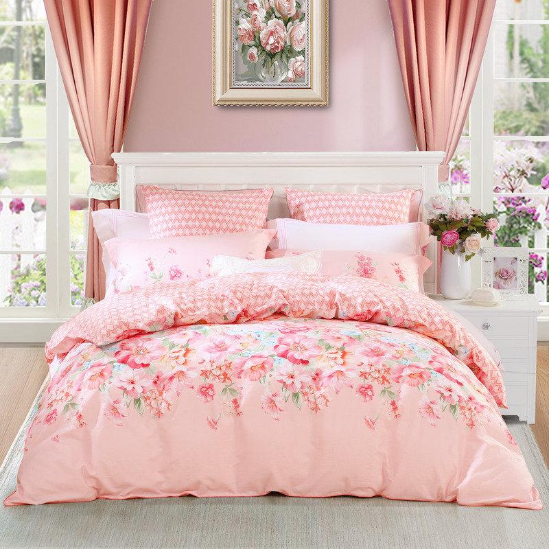 水星家纺 全棉四件套纯棉 床单被罩被套床上用品套件 加大双人1.8米床 馨香丽人