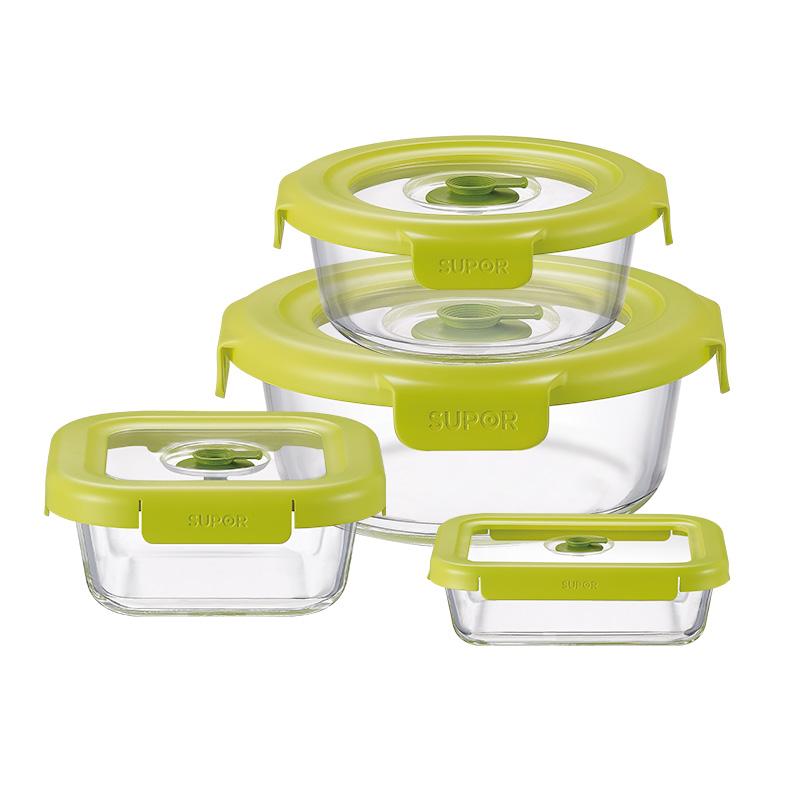苏泊尔supor 耐热玻璃保鲜盒鲜呼吸负压保鲜盒微波炉饭盒四件套TK1724E