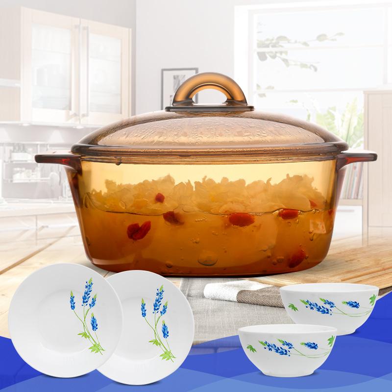 樂美雅 Luminarc 琥珀直燒鍋玻璃鍋湯鍋燉鍋透明鍋蒸鍋奶鍋 2升鍋+2碗+2盤 5件組合套裝