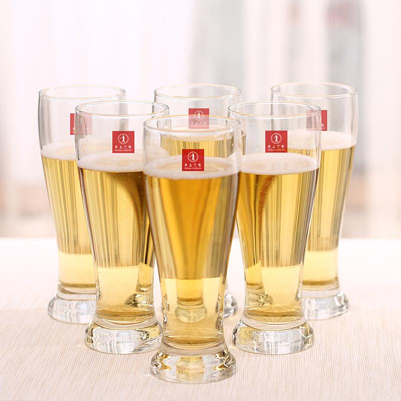 手工之家比尔森收腰450ml小麦啤酒杯水杯果汁杯玻璃杯6支套装