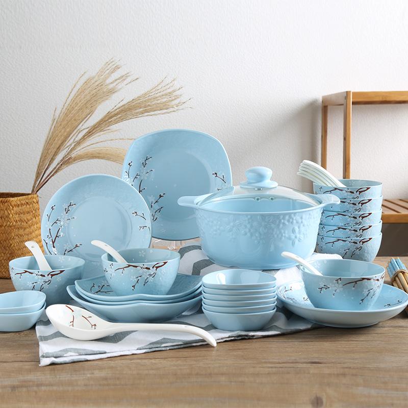 顺祥缤纷色土直烧巧妇锅40头陶瓷碗碟盘餐具套装(樱之魅影-蓝)