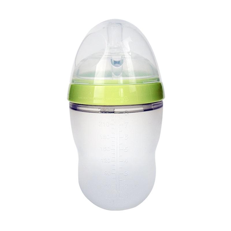 可么多么(COMOTOMO)寬口徑硅膠奶瓶配奶嘴250ml韓國原裝進口(綠色)
