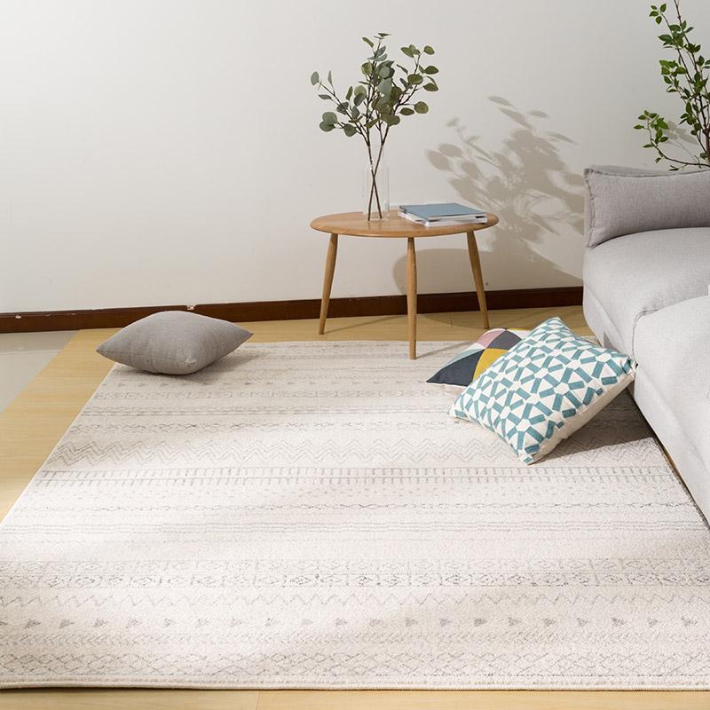 佳佰 北欧宜家/条纹几何客厅地毯茶几地毯 卧室床前毯  爵士白纹-JB-M-5 160CM*230CM