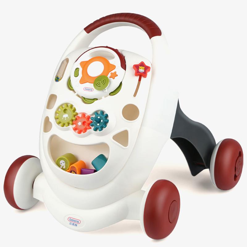 贝恩施(beiens)婴儿玩具学步手推车 多功能早教启智玩具  防侧翻助步车TC03红灰