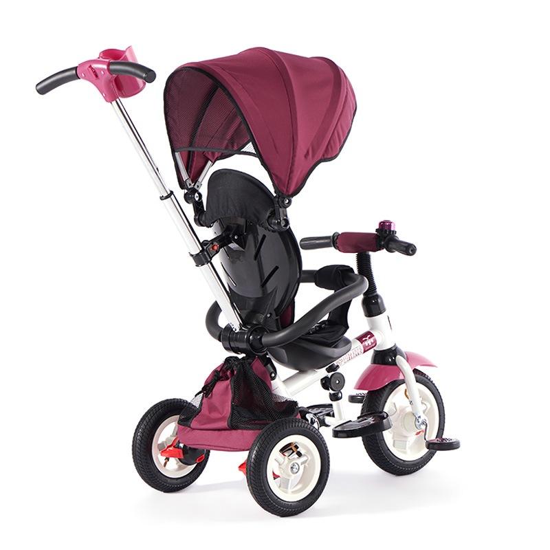 小虎子儿童三轮车 可折叠婴儿车 宝宝手推车 3合1儿童脚踏车 魔方系列T300 充气轮 紫罗兰