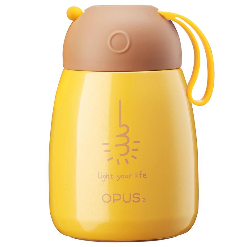opus保温杯学生便携304不锈钢水壶儿童创意杯子迷你大肚杯300ml芒果黄