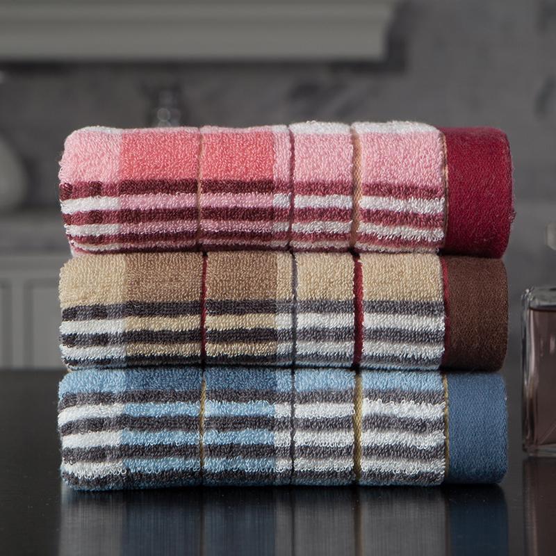 洁丽雅·兰(grace·orchid)毛巾浴巾 毛巾家纺布拉格格子面巾三条装